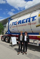 Transport Logistics 2015 in Munich: Anhalt TC Rent with tank container - chassis at the outside area.